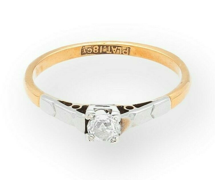 18Carat Yellow gold & Platinum 0.20ct Diamond Solitaire Ring (Size N) 4mm Head