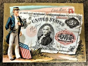 SPECTACULAR-US-CURRENCY-ADVERTISING-CARD-with-an-UNCLE-SAM-TYPE-amp-10-STAR-FLAG