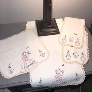 Vintage-Embroidered-Bonnet-Girl-Doilies-Set-of-4-Matching-Handmade-Cream-Linen