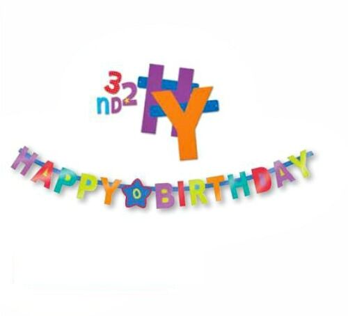 1 BIG PARTY BANNER HAPPY BIRTHDAY ANY AGE kids adults BUNTING 1100 yrs sticker