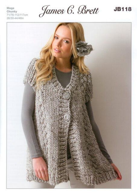 Ladies Waistcoat JB118 Knitting Pattern James C Brett Rustic Mega Chunky