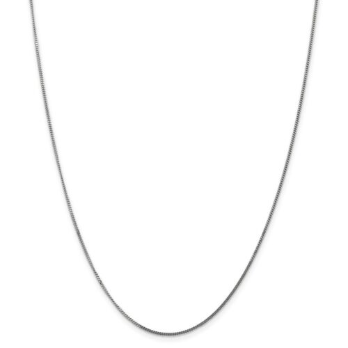 Real 14kt White Gold 1.3mm Curb Pendant Chain; 18 inch