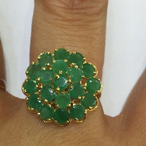 14k Solid Yellow gold  Ring W Natural Emerald Not Enhanced 3.56GM7.5 US