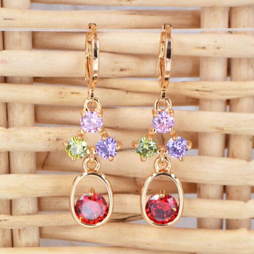 Nouveau Femmes Multicolore Rouge Zircon 18K Or Plaqué Zircon Cubique Boucles d/'oreilles pendantes bijoux