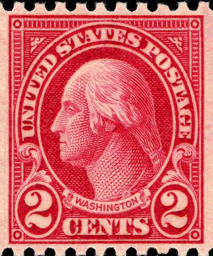 1923 2c Washington, Carmine, Coil Scott 606 Mint F/VF N