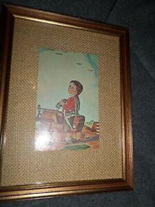 "Vintage Raymond James Stuart ""GROUNDED"" encadrée Imprimer Garçon & bois avion Jumelles"