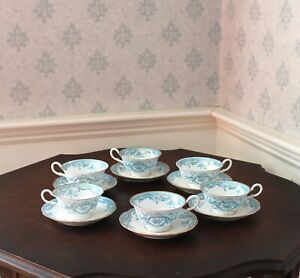 Vintage Set of 6 Rorstrand Swedish China Blue, Gold and White Tea Cups & Saucers