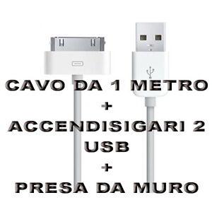 Kit-Carica-Batteria-Auto-Cavo-30-Pin-1M-Usb-Per-Iphone-3G-3GS-4-4S-IPOD-Ipad-2