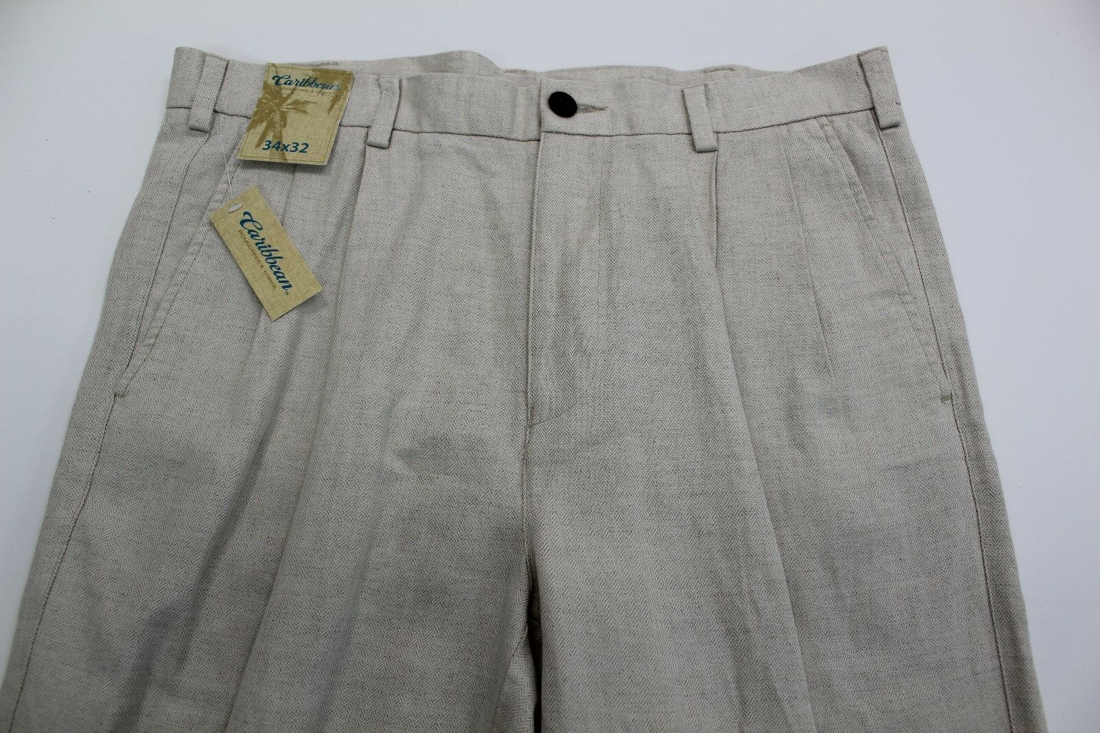 Mens Caribbean Linen Cotton Dress Pants Pleat Front 34x32 Natural