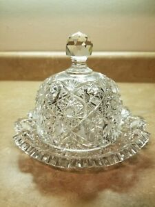 Large-ABP-BRILLIANT-CUT-GLASS-CRYSTAL-Dome-Cheese-Plate-Dish-Hobstar-Sawtooth