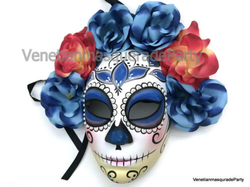 Full Face Flower Masquerade Ball Mask Day of the Dead Costume Party Wall Deco