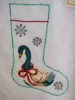 Ep 1205 Snowflake Goose Christmas Stocking Vintage Preworked Needlepoint Canvas
