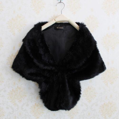 Fashion Elegant Bridal Wedding Fur Long Shawl Stole Fomal Women Wrap Shrug Scarf