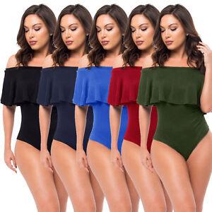 Women Sexy Off The Shoulder Short Sleeves Ruffle Velvet Bodysuit ... 835cdd304