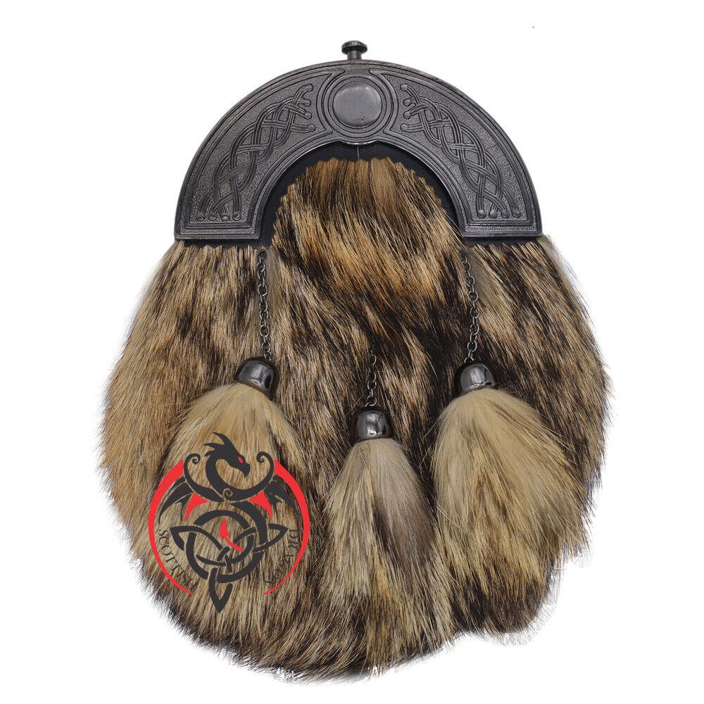 SH Scottish Full Dress Kilt Sporran Caltic Cantle Antique Highland Sporrans Fur