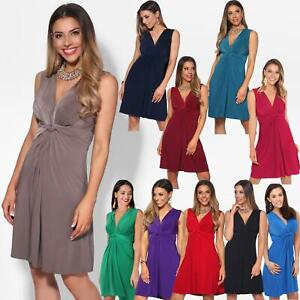 Womens Ladies Ruched Drape Mini Dress Twist Knot Party Summer Casual Beach