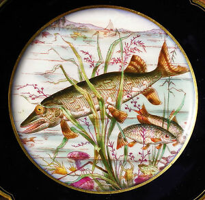 Assiette-en-porcelaine-Vierzon-French-porcelain-dessine-a-la-main-1869-Paris