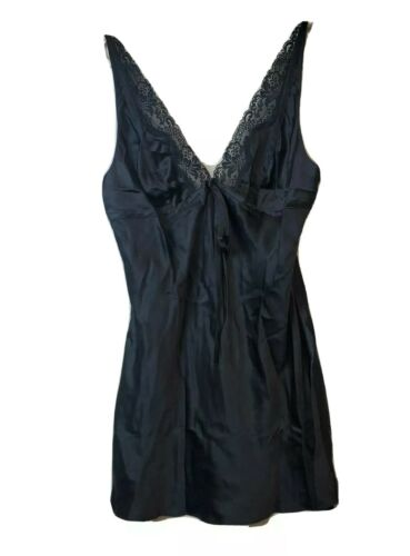 Victoria Secret Silk Chemise Slip Dress Lace Trim