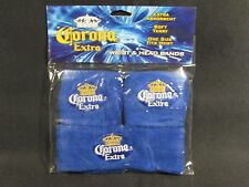 CORONA WRIST & HEAD SWEAT BAND SET NEW BLUE Tennis Skateboard basketball etc
