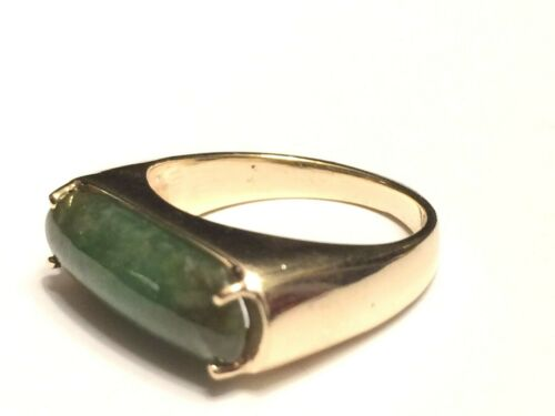 Solid 14K Jadeite Jade Saddle Ring  7 g