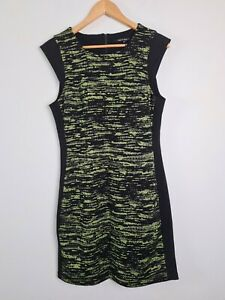 CUE-in-the-City-Black-amp-Fluro-Corporate-Sheath-Pencil-Dress-Women-039-s-Size-14-NWOT