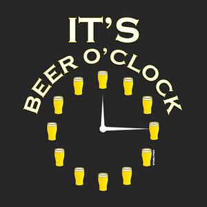 It's Beer O'clock Funny Drinking Alcohol Pub Crawl T-Shirt S-XXL