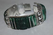 Vintage 3 Panel Mexican Jade Bracelet Sterling Silver