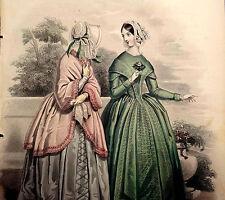 LE FOLLET 1845 Hand-Colored Fashion Plate #1248 Toilettes de Ville PRINT