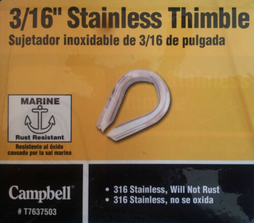 """STAINLESS STEEL METAL ROPE ANCHOR LINE WIRE THIMBLE 3//16/"""" WIRE SIZE BOAT MARINE"""