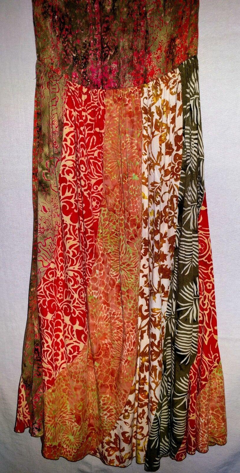 Santiki Small Dress Vintage Tiki Print Sari Strapless Sun Dress like Jams World