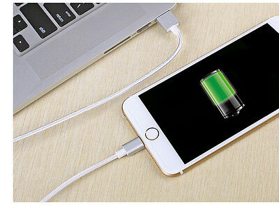 For Apple Iphone 6 Nylon Charger Cable 1/2/3m metre 8 Pin USB Sync Data Charging