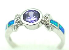 Opal blau  Lila Stein  Zirkonias  Ring   Größe 60  925 Silber  Sterlingsilber