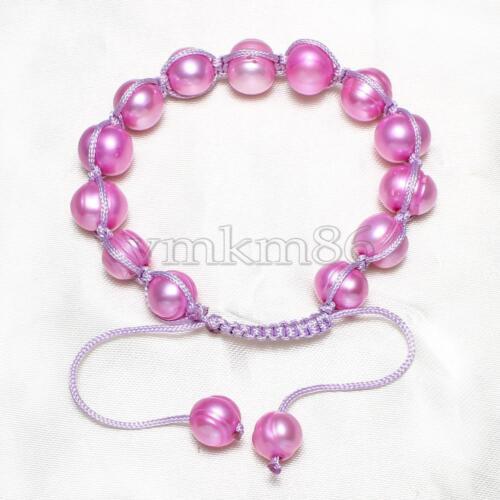 Women Freshwater Cultured Pearl Nylon Cord Bracelet 7-11mm 7 Inch Adjustable