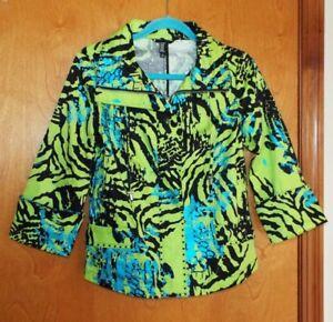Berek Multi Taille avec Jacket Petit strass Zip Euc superbe Front Color q1gwRqrC