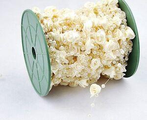 1m-elfenbeinfarbene-Girlande-mit-Perlen-und-Seidenblumen-Hochzeit-Deko