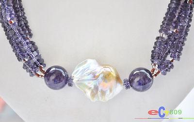"P4940 3row 21"" 30mm baroque lavender keshi pearl Amethyst bead necklace"