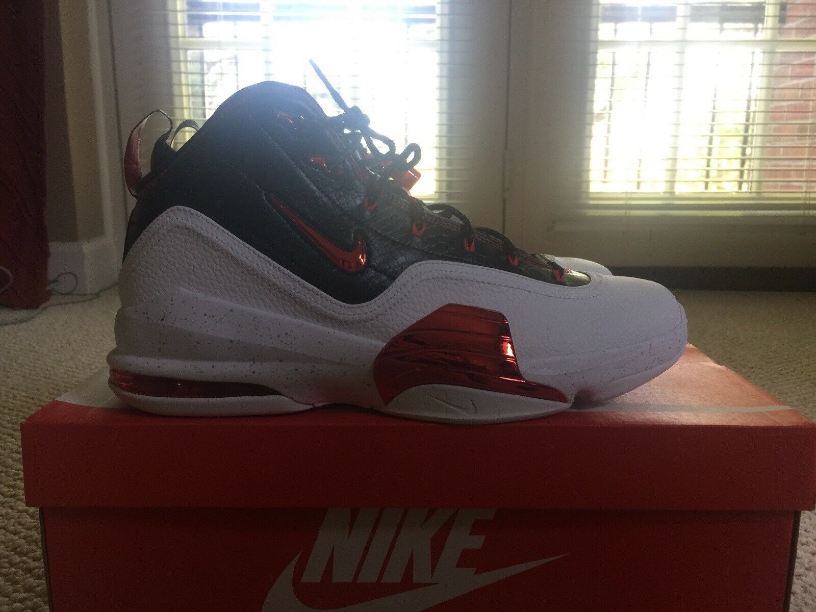 Nike Air Pippen 6 Black Red White Chicago Bulls Miami Heat Leather New Size 12