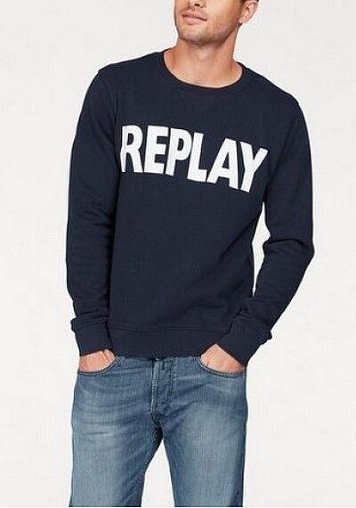 Replay Sweatshirt Marineblau Herren Gr.M-XL NEU Pullover Baumwolle Pulli Langarm