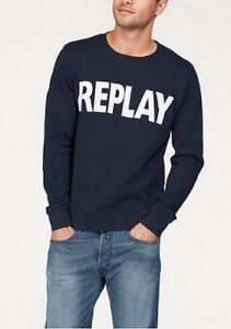 m Blu Sweater a lunghe maniche New uomo Gr Cotton scuro Pullover Sweatshirt da xl Replay zAq5Iq