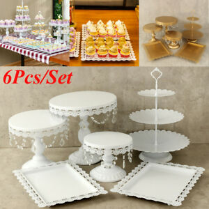 Set of 6 Crystal White Metal Cake Holder Cupcake Stand Wedding ...