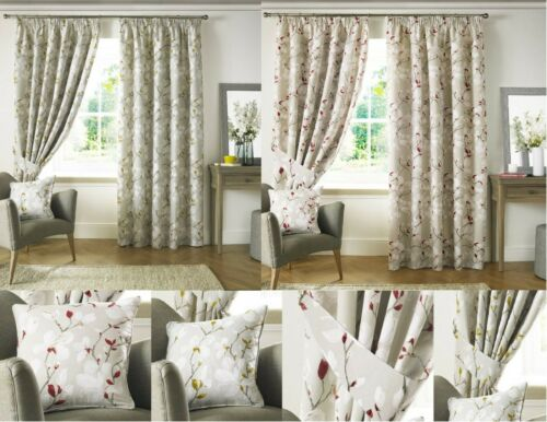 Anita Fully Lined Pencil Pleat Curtains Cotton Grey Ground / Red or Ochre flower