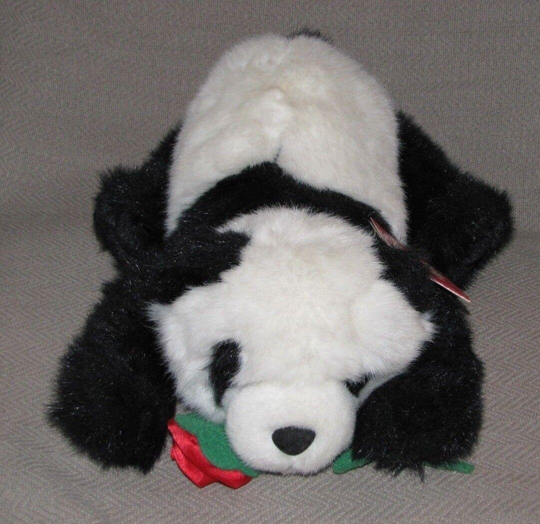 RUSS STUFFED PLUSH CARESS SOFT PET PANDA BEAR POPPY POPPY POPPY ROT ROSE FLOWER 13