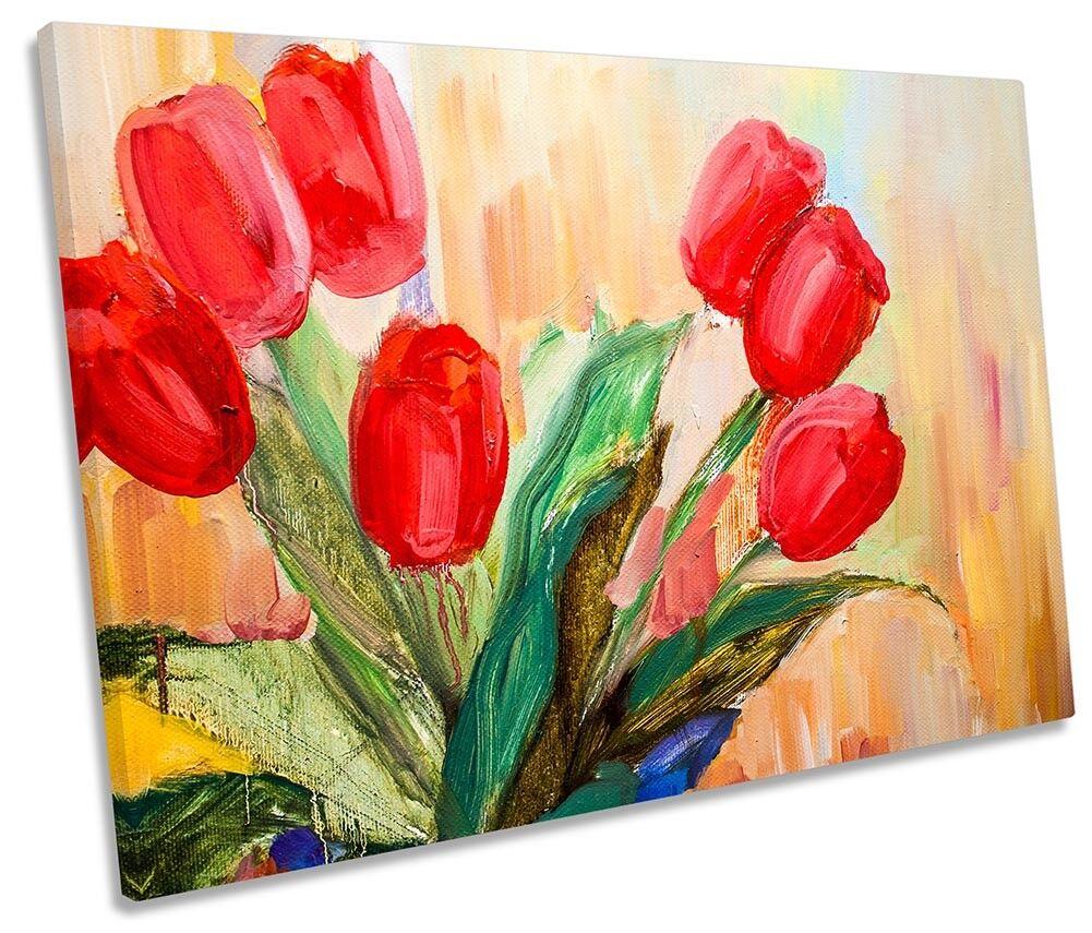 Rojo Tulipán Floral Flores Lona Parojo Arte Arte Arte de Impresión de la obra de arte única 65f0dd