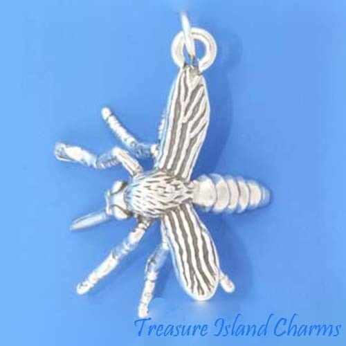 Grand détaillé Mosquito 3D 925 Solid Sterling Silver Charm pendentif made in USA