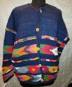 Details about Express tricot 100% wool cardigan sweater womens one size colorful hand knit