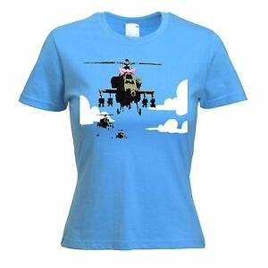 BANKSY-HAPPY-CHOPPERS-WOMENS-T-SHIRT-Helicopter-Sizes-S-to-XL