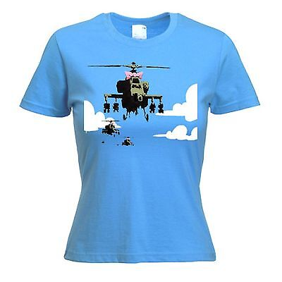 BANKSY HAPPY CHOPPERS WOMENS T-SHIRT -  Helicopter - Sizes S to XL