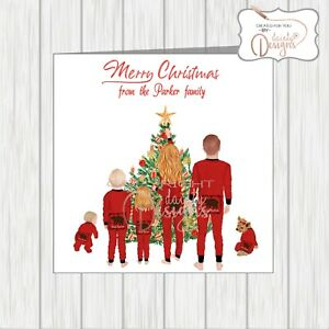 10-x-Personalised-Surname-Christmas-Cards-From-All-The-Family-Xmas-Tree-Any-Mix