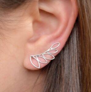 Simple-Minimalist-Sterling-Silver-925-Floral-Leaf-Leaves-Ear-Climbers-Earrings