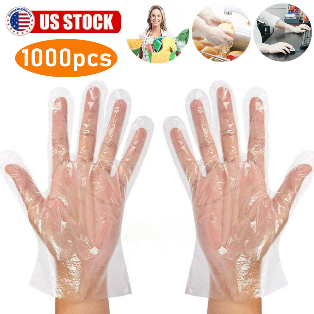 SSDXY 1000 Pcs Plastic Disposable Gloves Restaurant Home Service Catering Hygiene